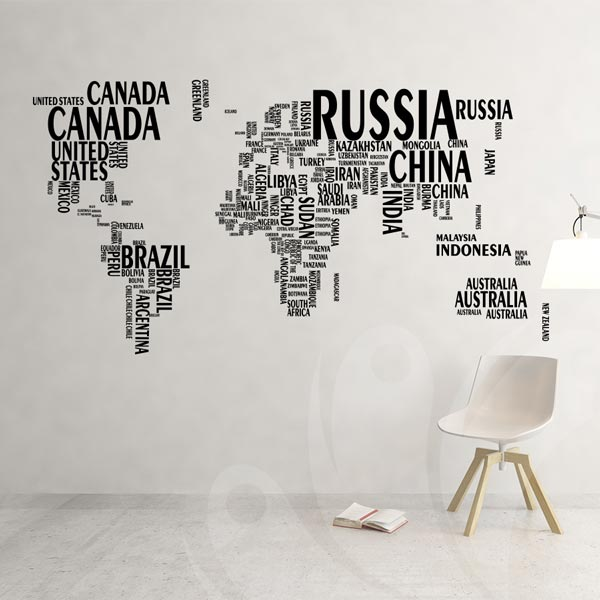 World Map Wall Decal Sticker Wall Decals Wall Stickers