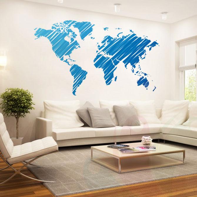 Wall sticker world map
