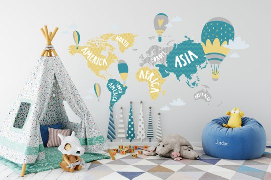 Children's room world map colorful decal cutout