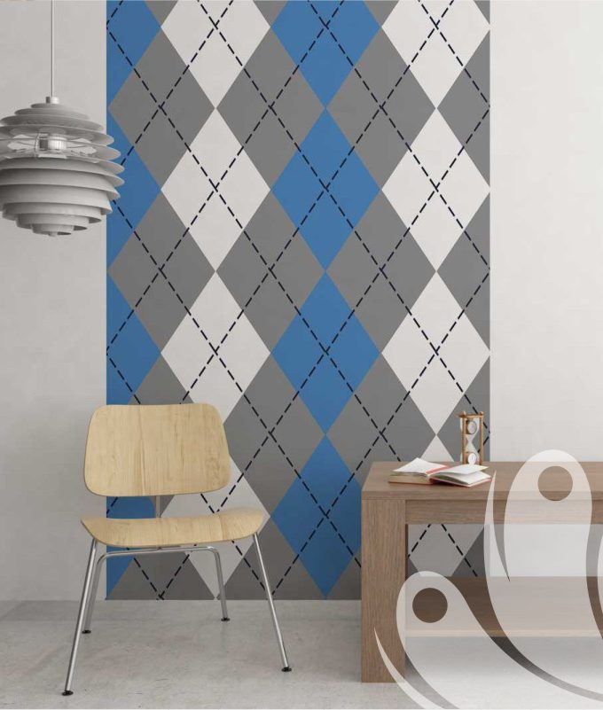 Diamond pattern wall graphic