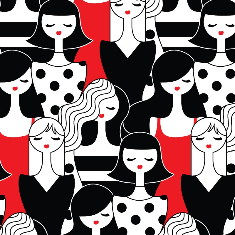 Girl Doodle Wall Graphic Pattern