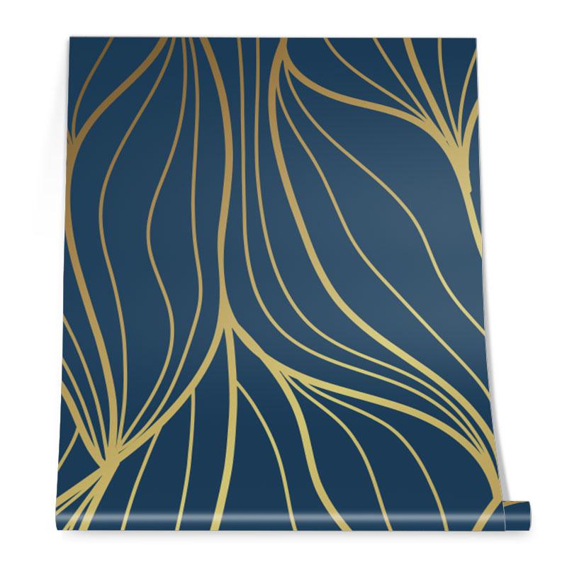 Navy Gold Wave Wallpaper