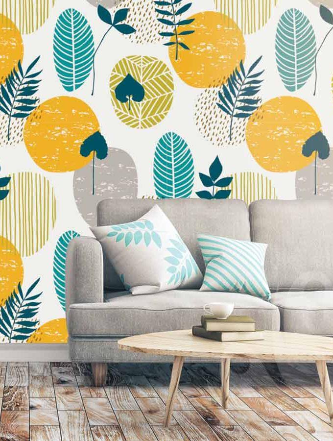 Warm Leaf Pattern Wallpaper