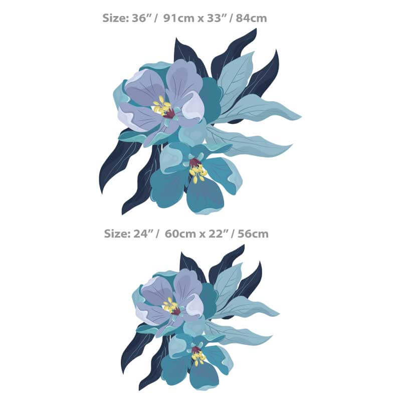 Blue Peony Flower Decal Size