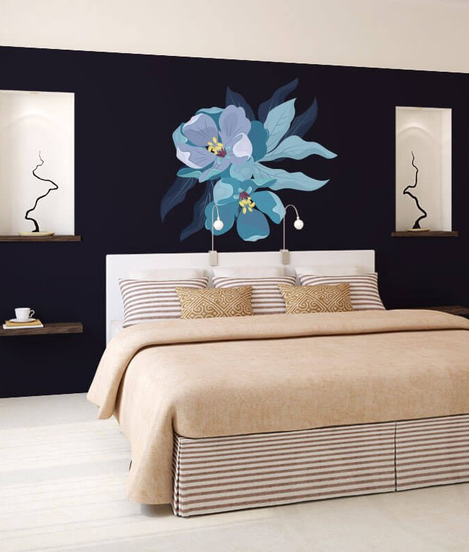 Blue Peony Flower Decal