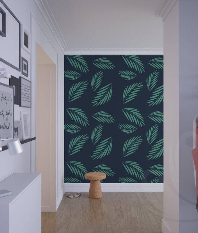 Dark Green Leaf Wallpaper