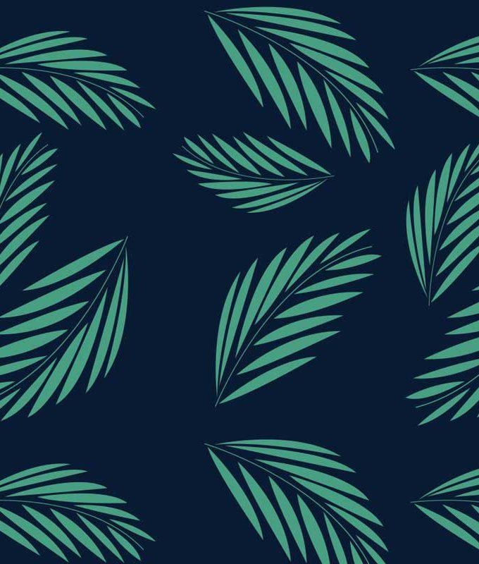 Dark Green Leaf Pattern