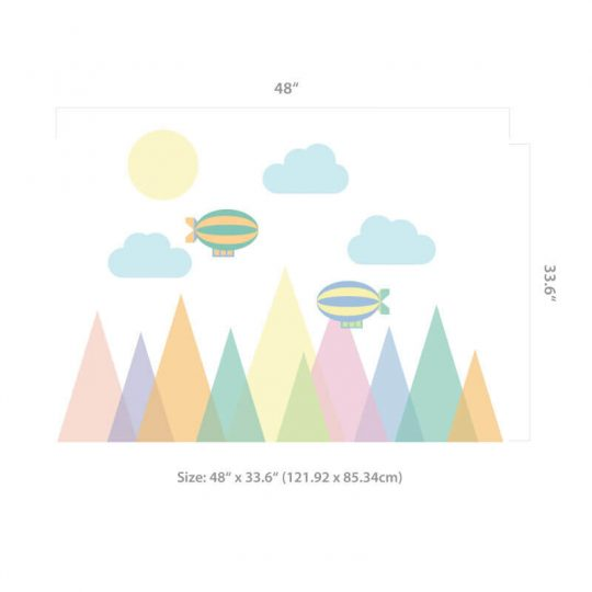 Geometric Mountains Wall Decal Size