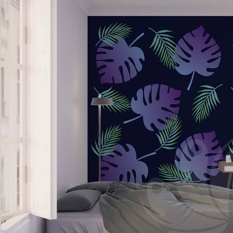 Gradient Tropical Leaf Wallpaper