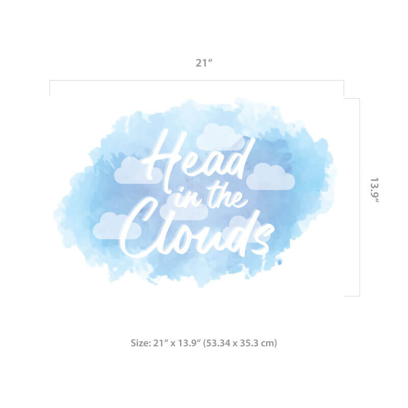 Head in the Clouds Wall Decal Size