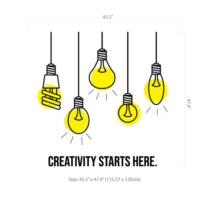 Creativity starts here decal Size