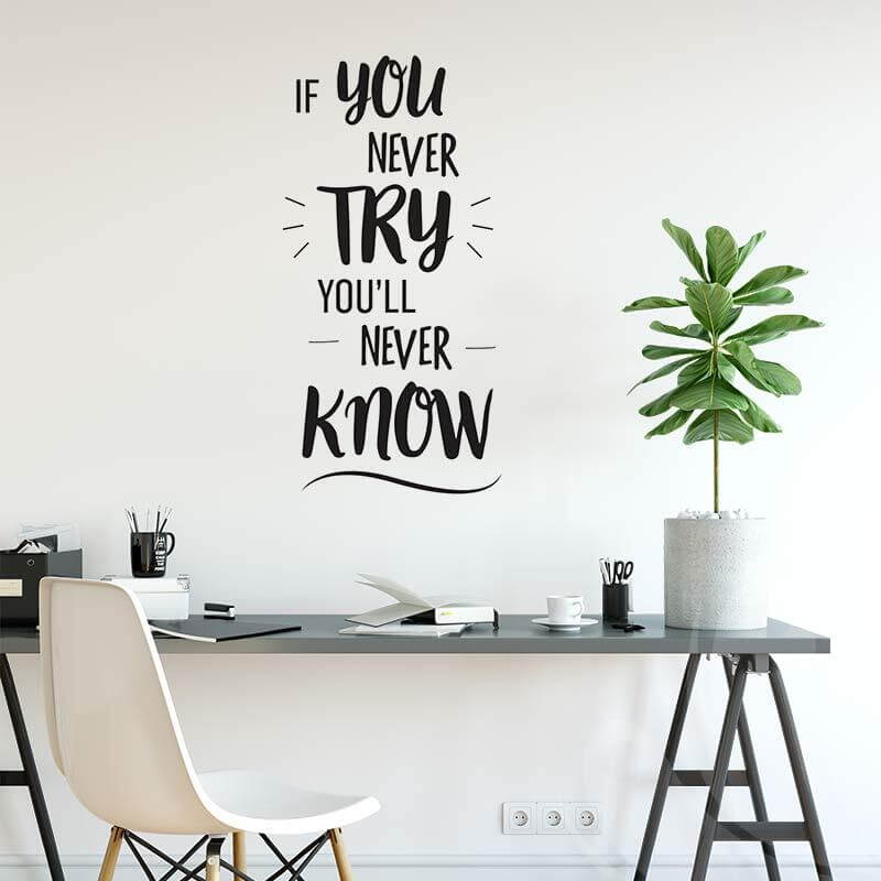 Motivational quote wall decal for office