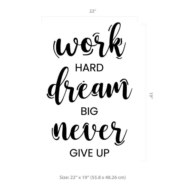 Never Give Up Wall Decal Size