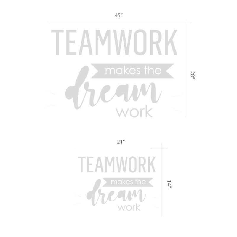 Teamwork inspirational wall decal size