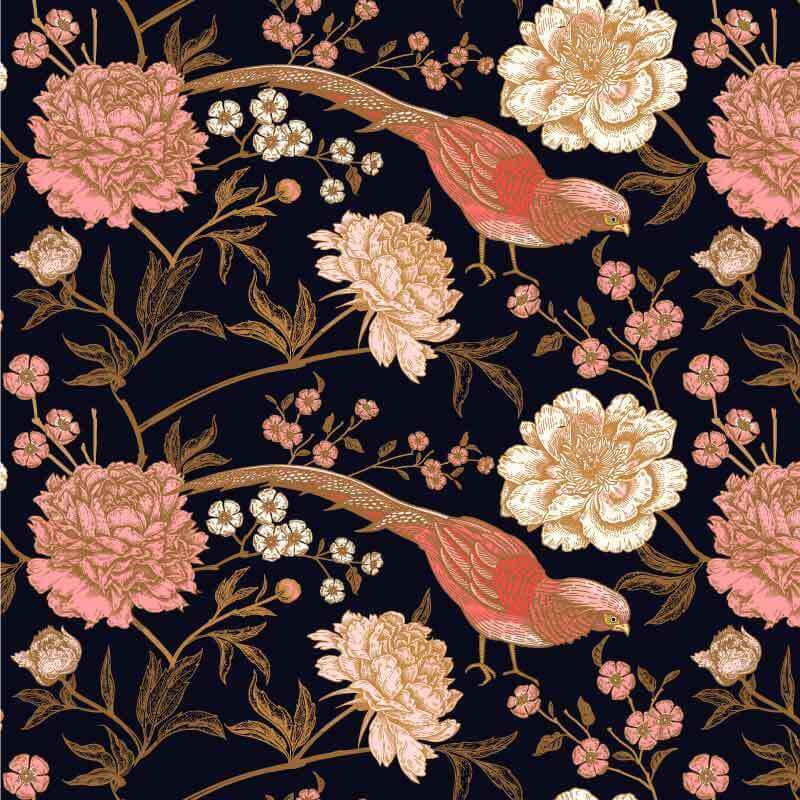 Exotic birds and beautiful peonies pattern