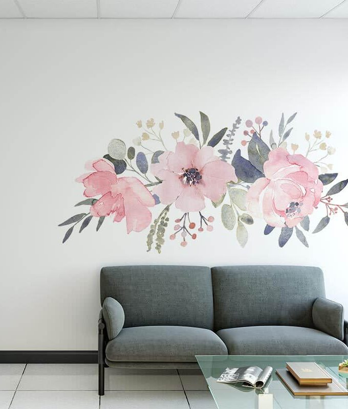 Floral wall decal for home