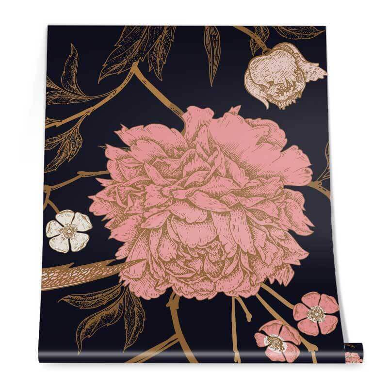 Exotic Birds and Beautiful Peonies Roll