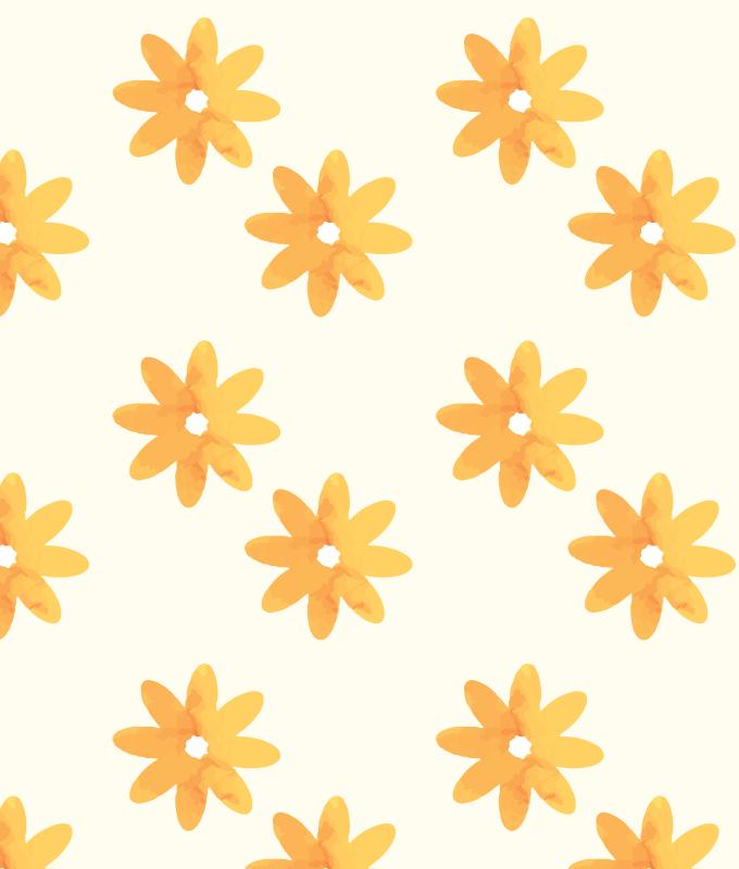 Orange Flower Wall Graphic Pattern