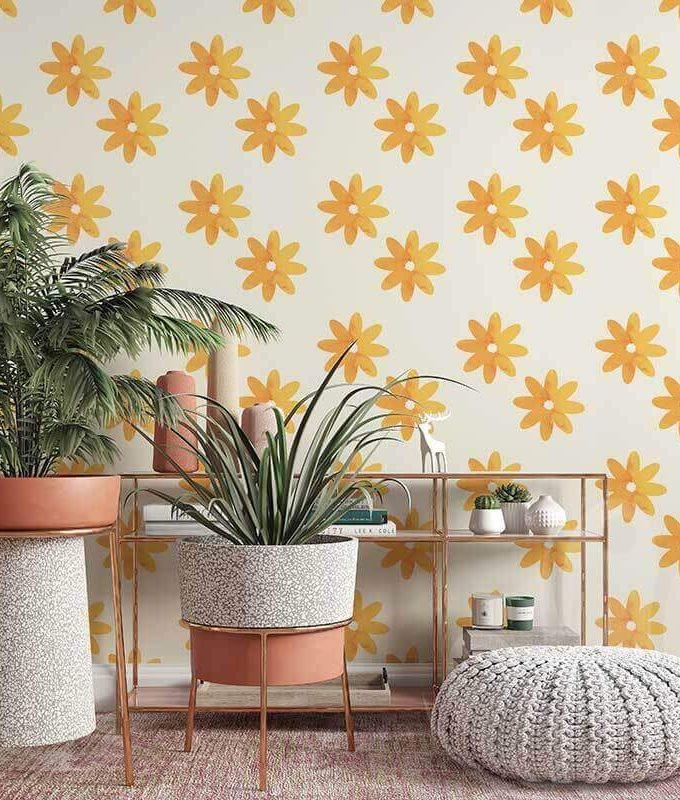 Orange Flower Wall Graphic
