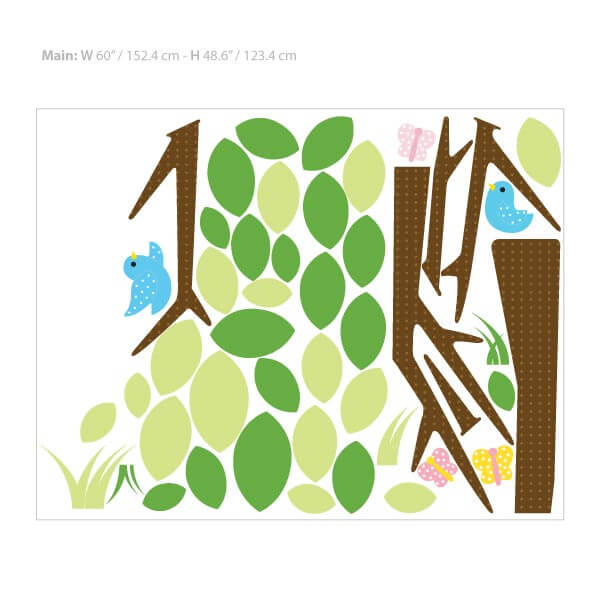 Tree Bird Wall Decal Size