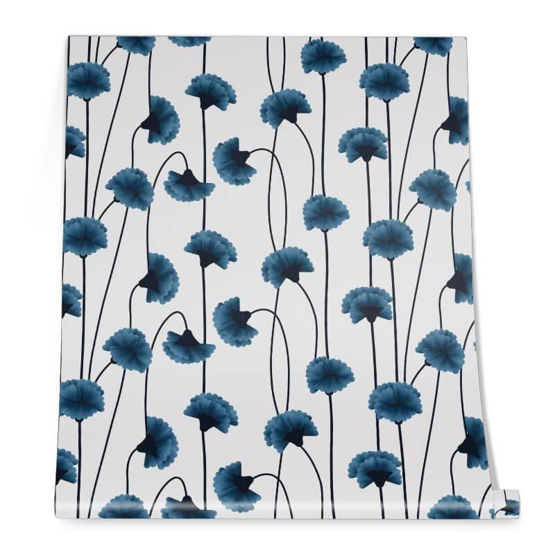 Blue Flower Wallpaper Roll
