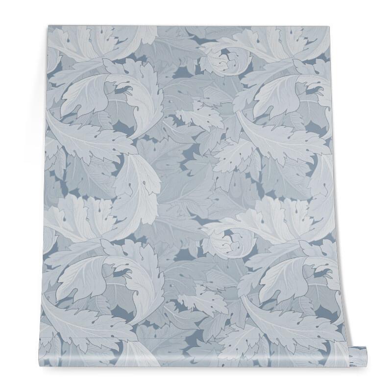 Blue Plant Pastel Pattern Roll