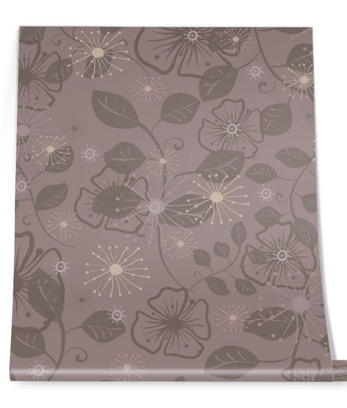 Brown Flower Graphic Pattern Roll