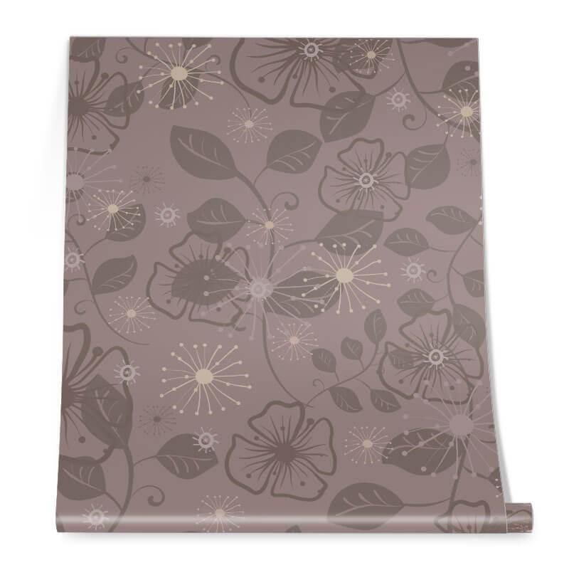Brown Flower Graphic Pattern Roll