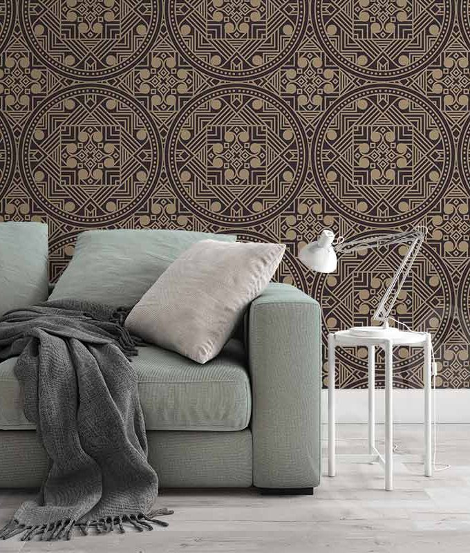 Abstract Ethnic Brown Wallpaper