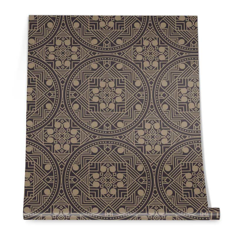 Abstract Ethnic Brown Wallpaper Roll