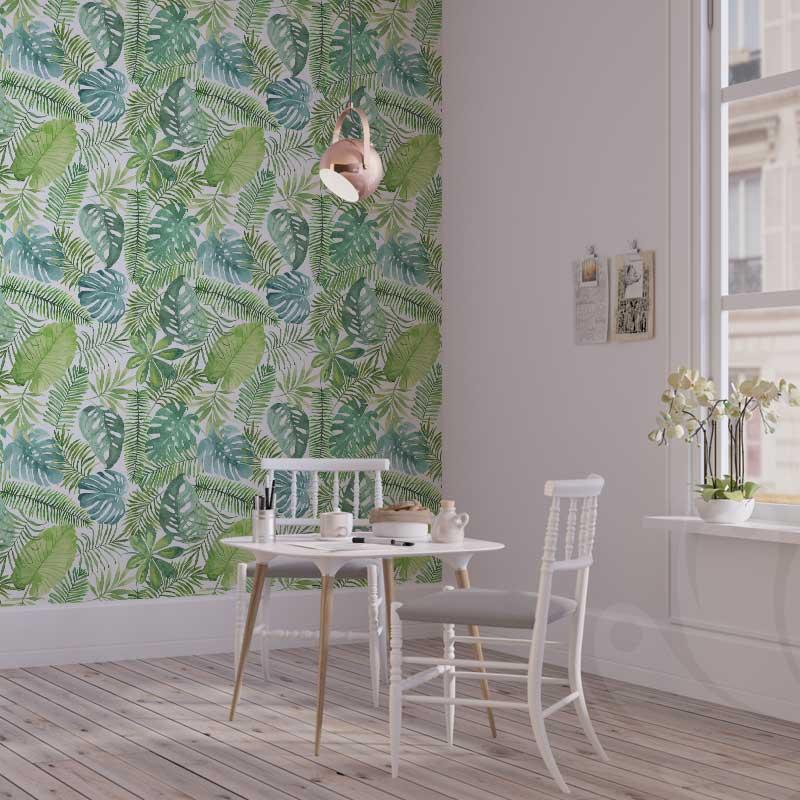 Pastel Green Banana Leaf Wallpaper