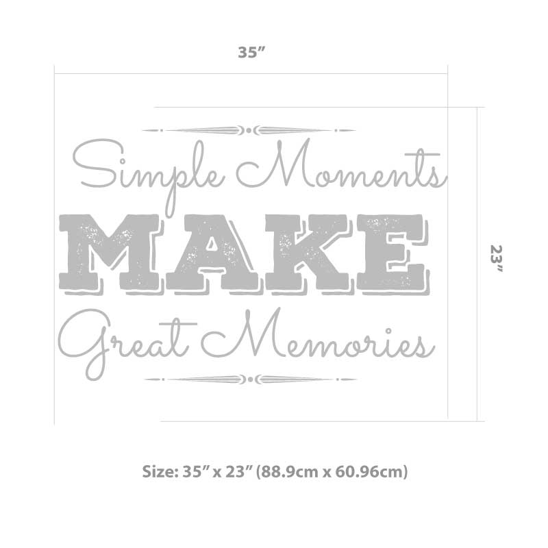 Great Memories Decal Size