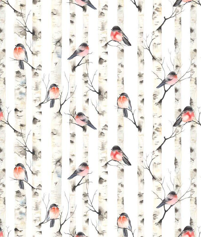 Bullfinches Birch Tree Pattern