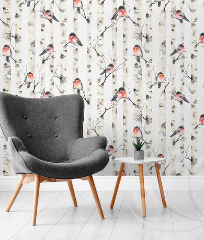 Bullfinches Birch Tree Wallpaper