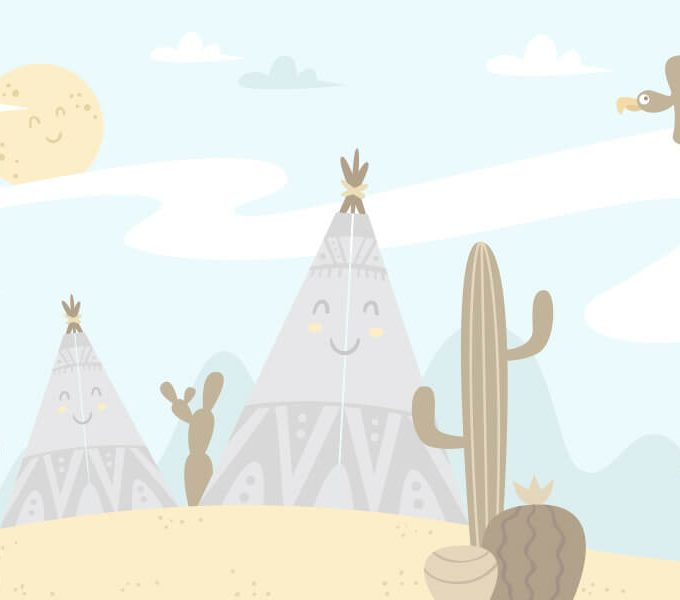 Cactus Cartoon Landscape Wallpaper