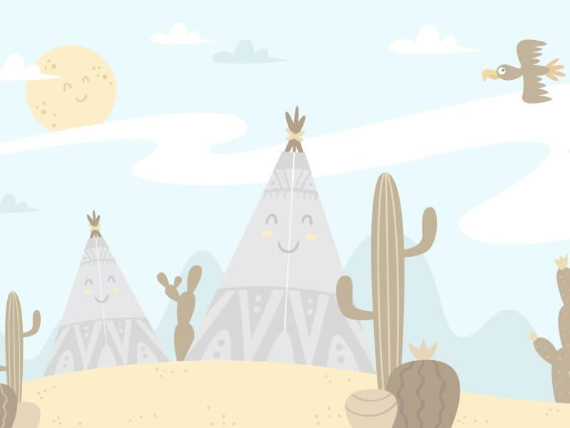 Cactus Cartoon Landscape Wallpaper