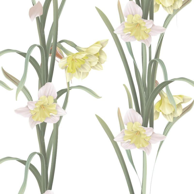 Daffodil Flower Pattern Wallpaper