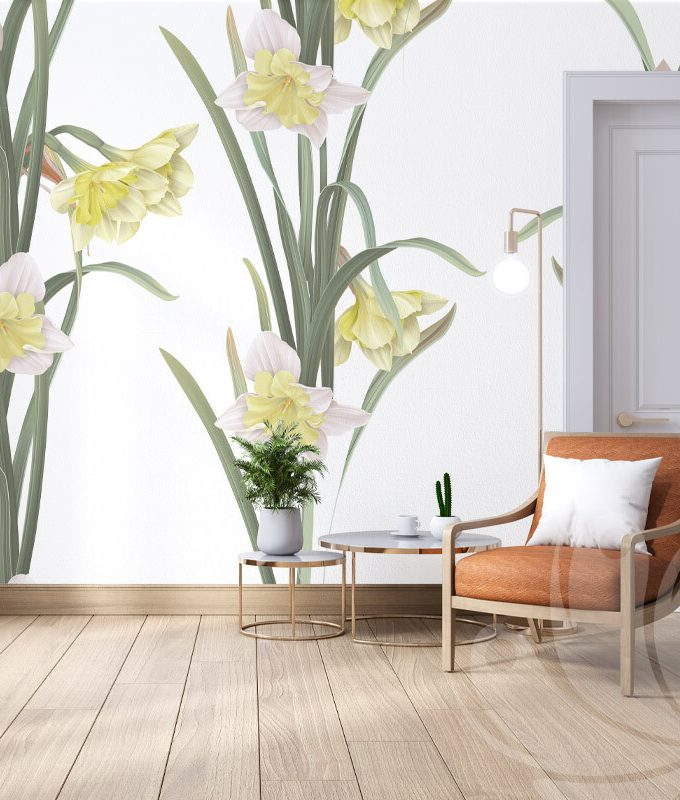 Daffodil Flower Pattern Wallpaper
