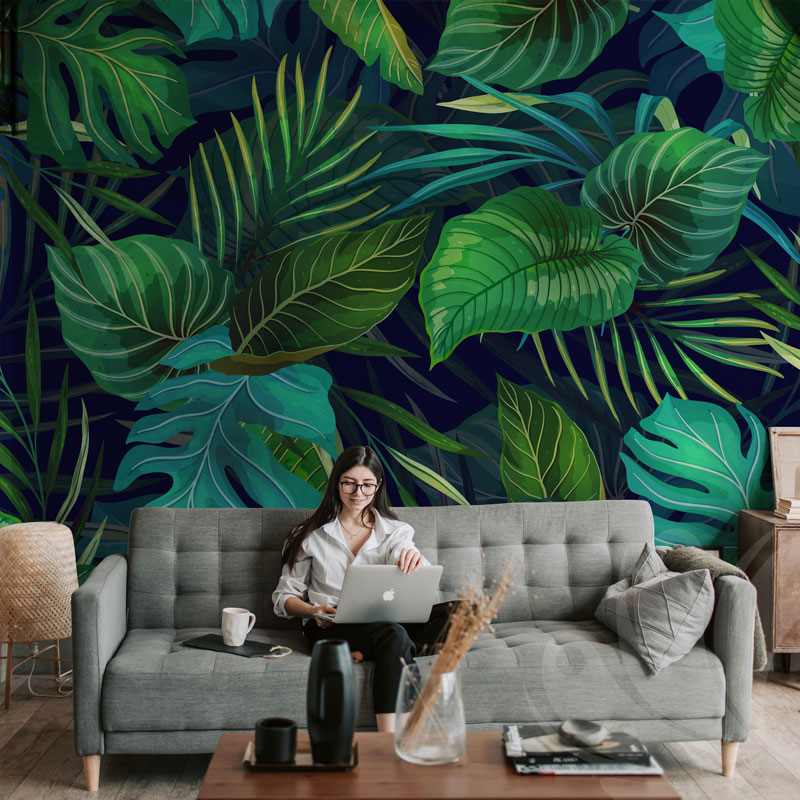 Exotic Leaves Green Wallpaper