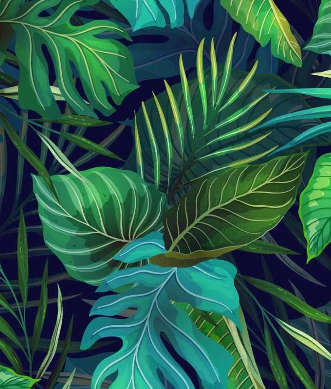 Exotic Leaves Green Pattern
