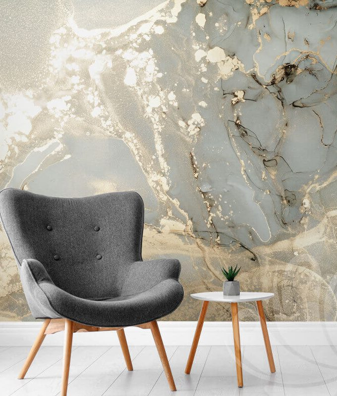 Golden Abstract Marble Wallpaper