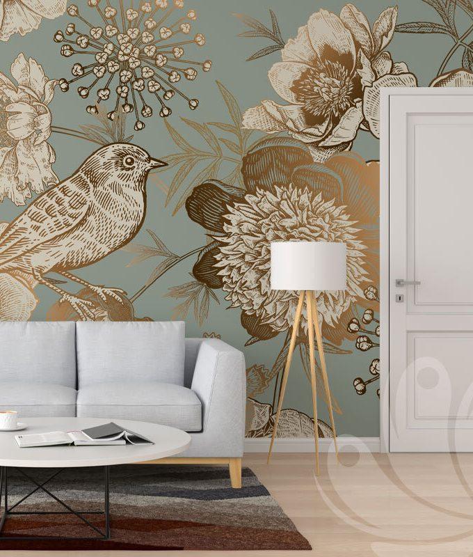 Peonies and Bird Seamless Pattern