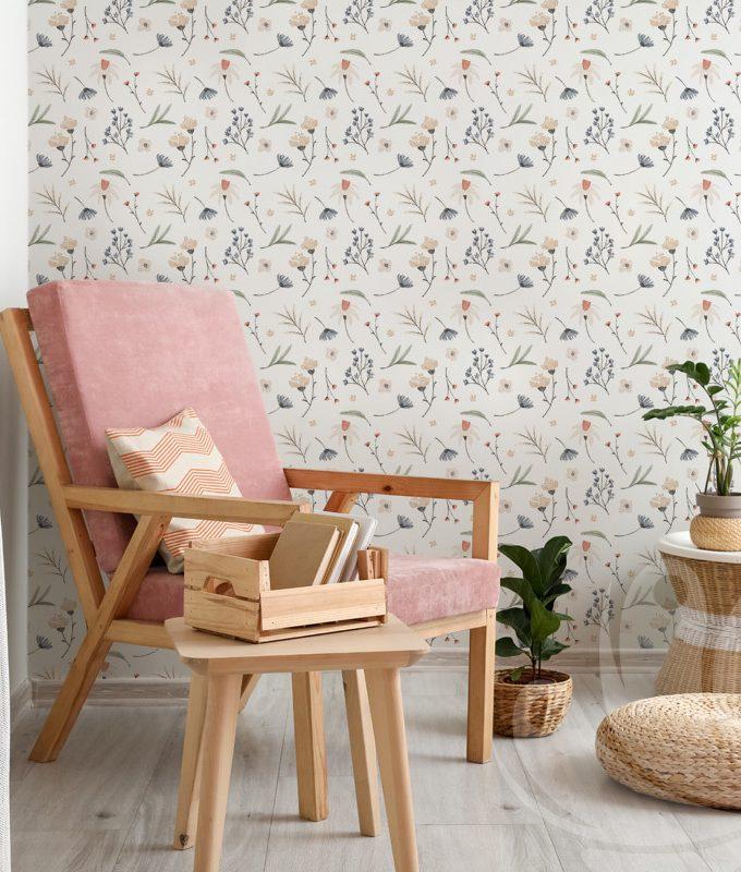 Botanical Floral Leaves Wallpaper