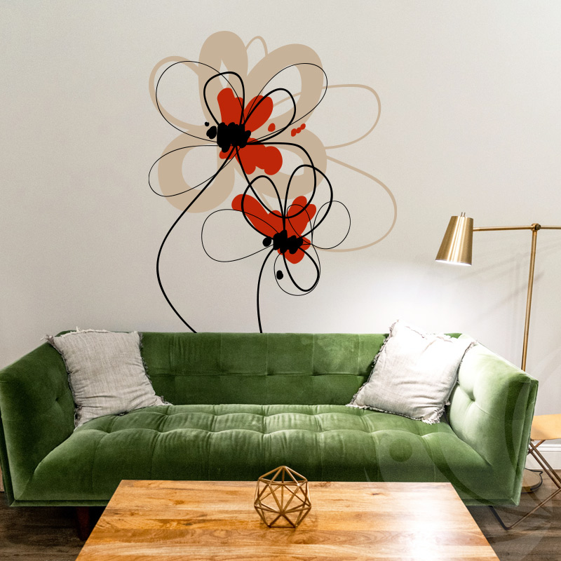 Hand Painted Floral Wall Decal
