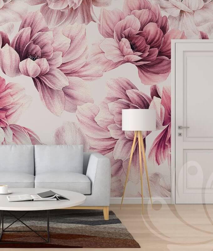 Pink Floral Wallpaper Mural