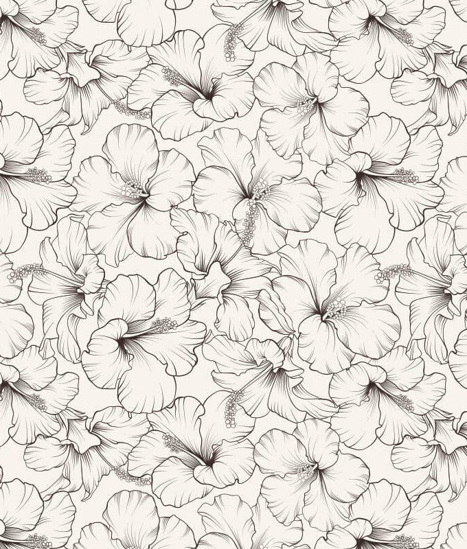 Blooming Hibiscus Seamless Pattern
