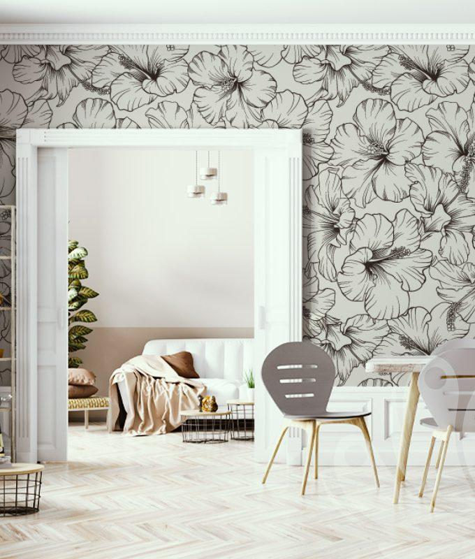 Blooming Hibiscus Floral Wallpaper