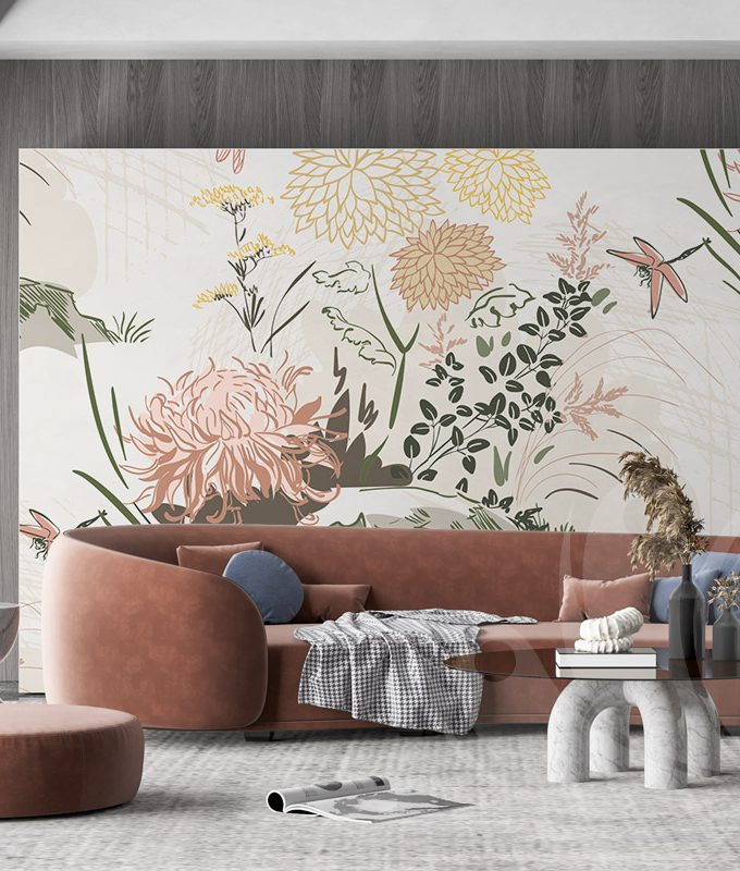 Chrysanths Flower Wall Mural