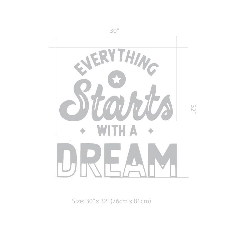 Everything Starts With Dream Decal Size