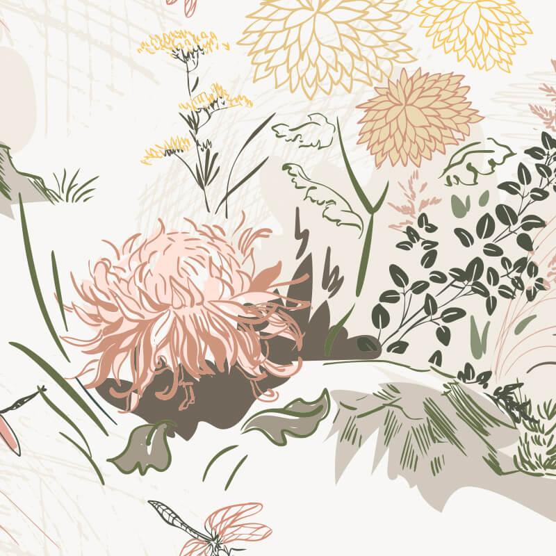 Chrysanths Flower Mural Pattern